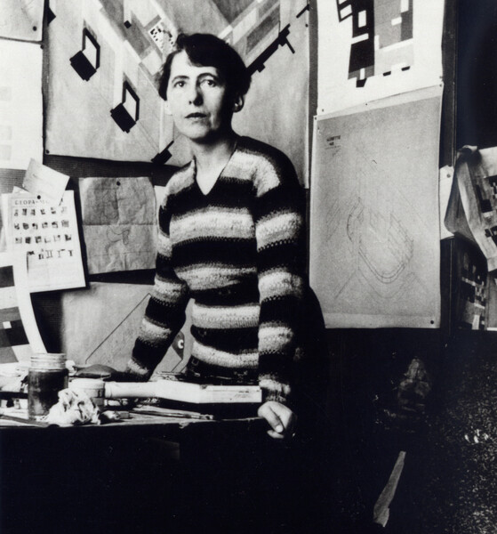 Sophie Taeuber-Arp in the office of the Aubette, Strasbourg, ca. 1926-27