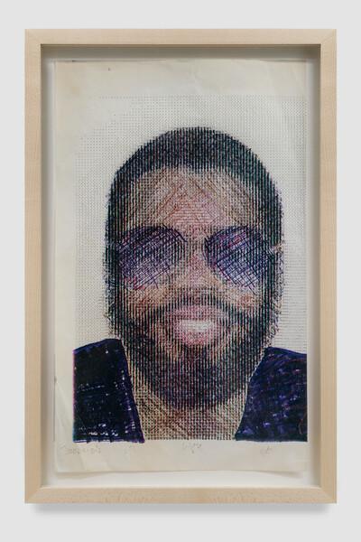 Frederick Weston 'Tommie's Smile' 1979, Mixed media on dot matrix print, 14 x 8.5 in, Unique, Courtesy Gordon Robichaux, NY, Collection Armyan and Christine Meleo Bernstein, Photo Adam Kremer (1) (1)